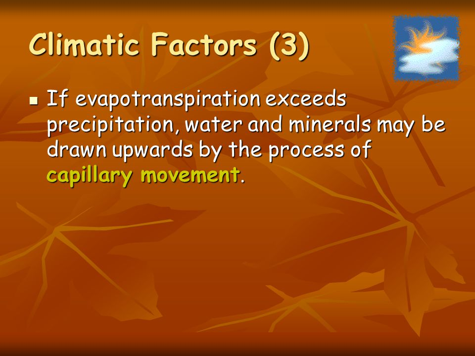 Climatic Factors (3) If evapotranspiration exceeds precipitation, water and minerals may be drawn upwards by the process of capillary movement.