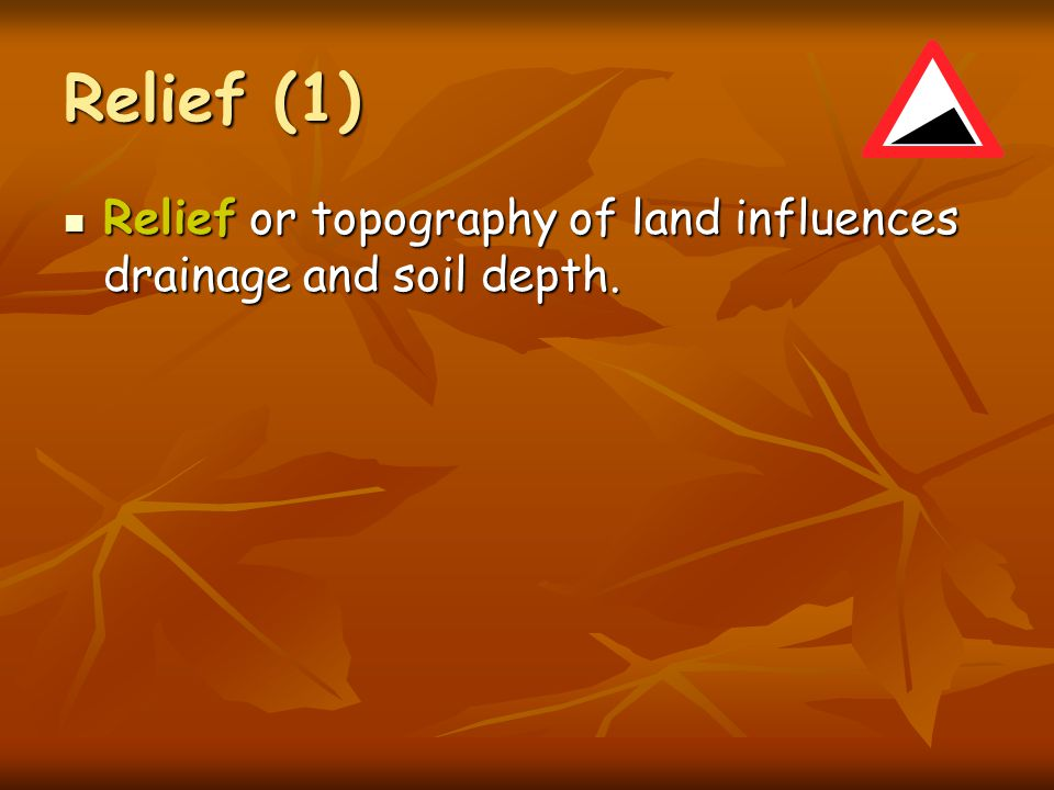 Relief (1) Relief or topography of land influences drainage and soil depth.