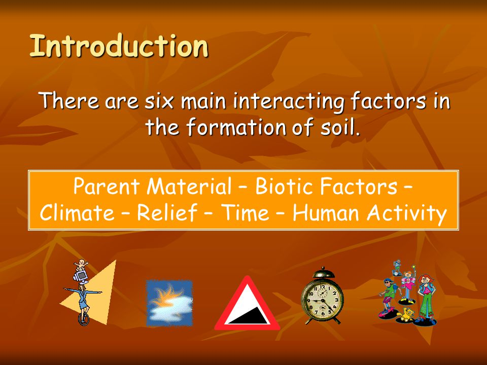 There are six main interacting factors in the formation of soil.