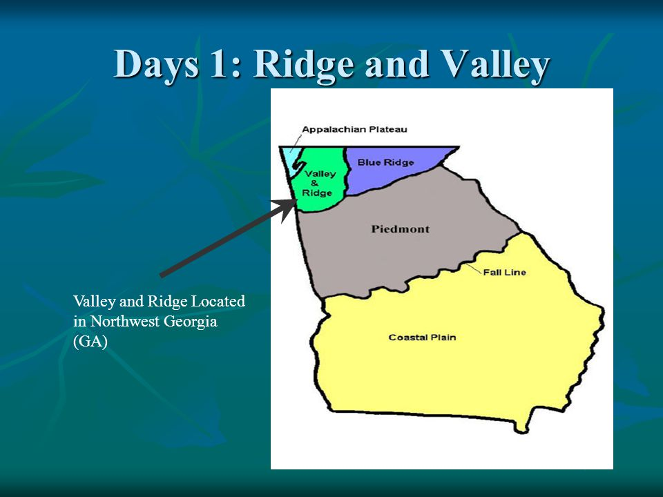 Days 1: Ridge and Valley Valley and Ridge Located in Northwest Georgia (GA)