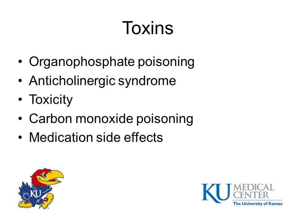 Toxins Organophosphate poisoning Anticholinergic syndrome Toxicity