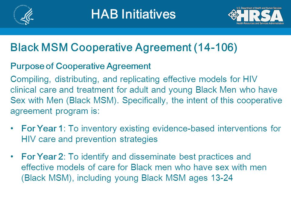 HAB Initiatives Black MSM Cooperative Agreement (14-106)