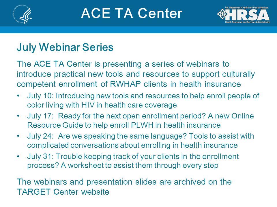 ACE TA Center July Webinar Series