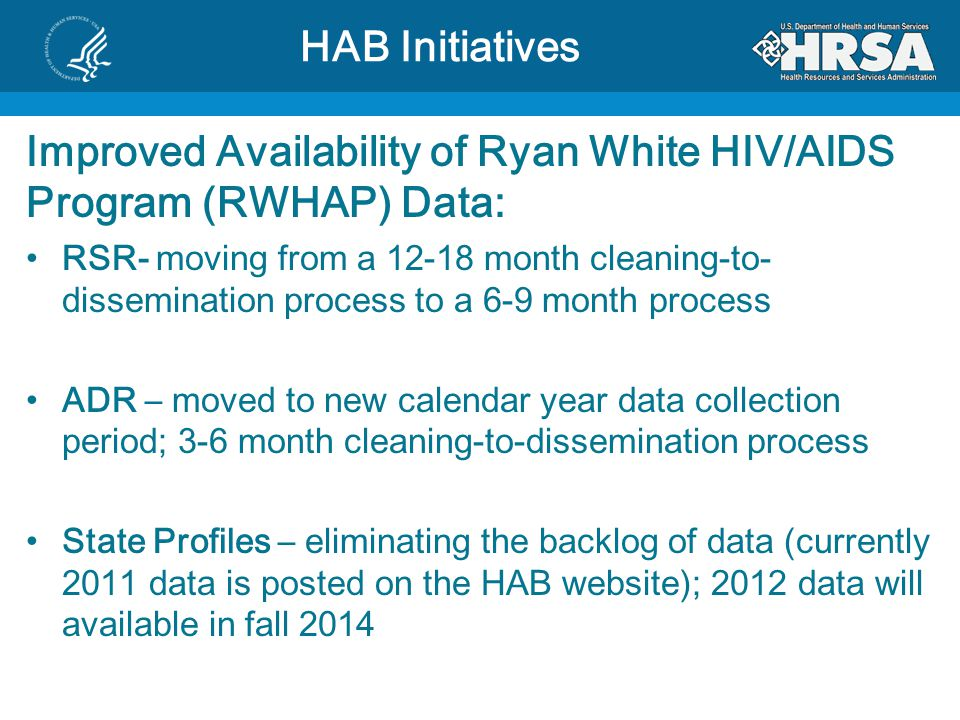 Improved Availability of Ryan White HIV/AIDS Program (RWHAP) Data: