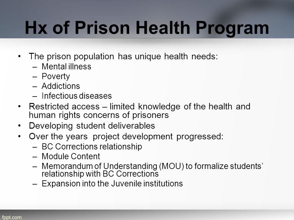 Hx of Prison Health Program