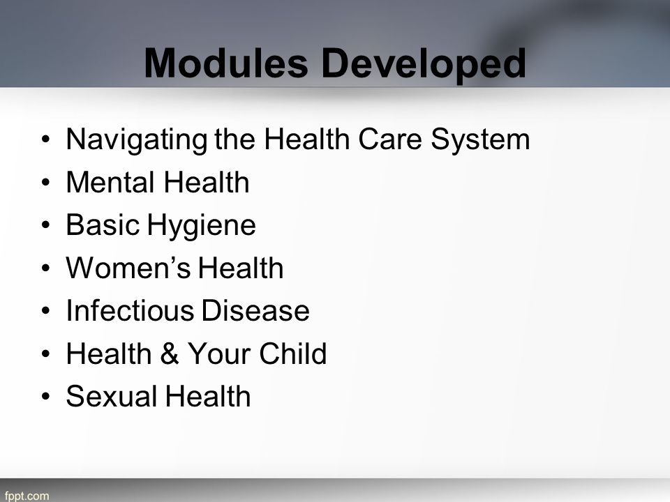 Modules Developed Navigating the Health Care System Mental Health