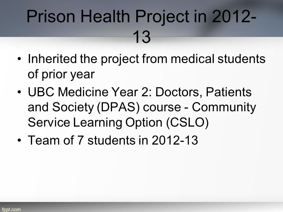 Prison Health Project in 2012-13