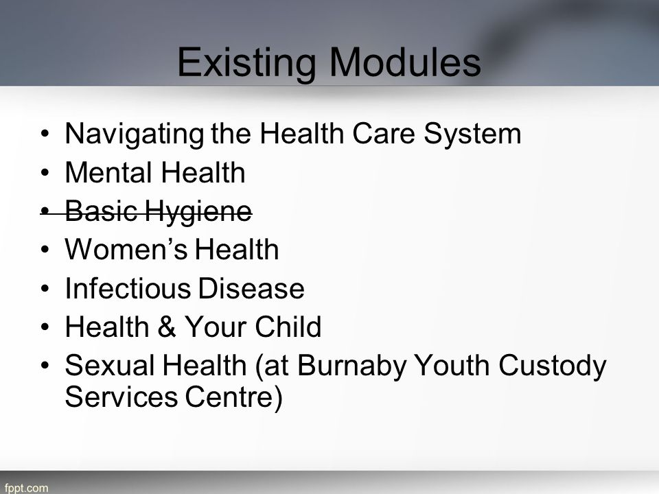 Existing Modules Navigating the Health Care System Mental Health