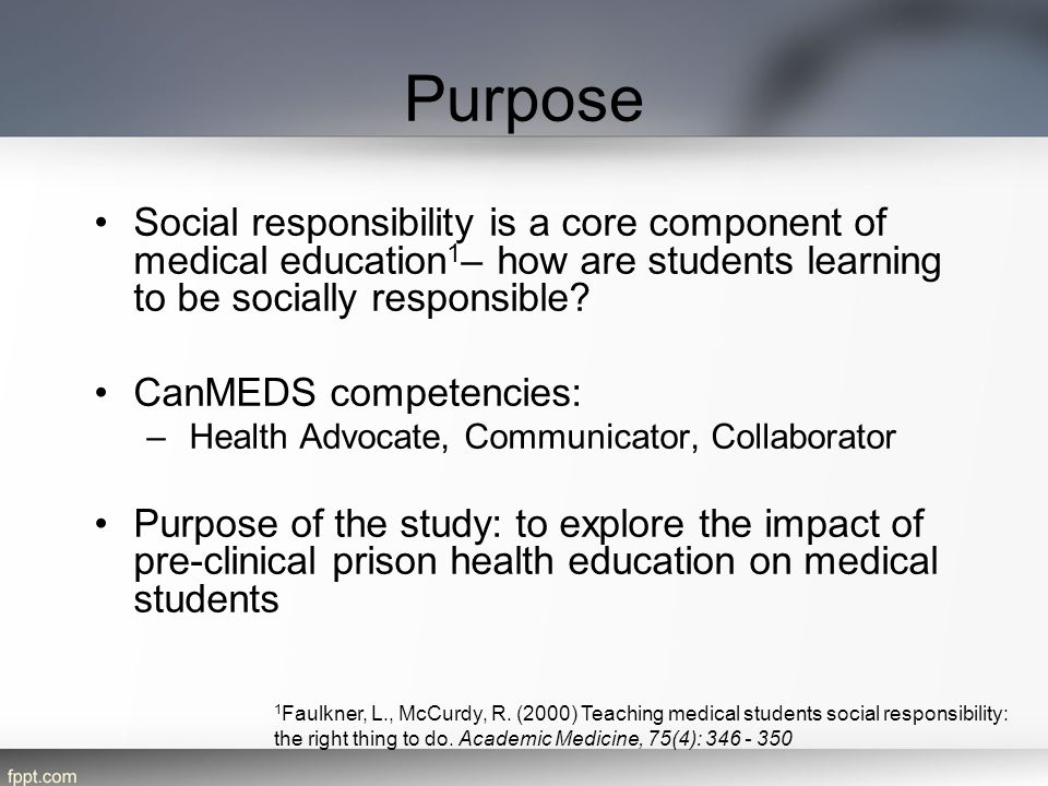 Purpose Social responsibility is a core component of medical education1– how are students learning to be socially responsible