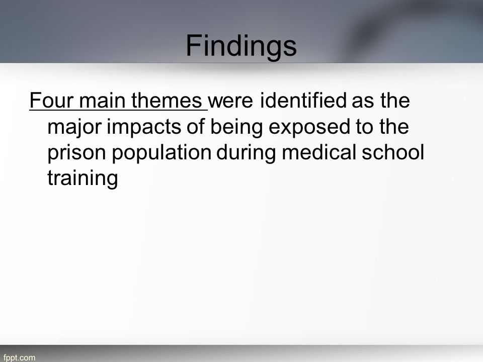 Findings Four main themes were identified as the major impacts of being exposed to the prison population during medical school training.