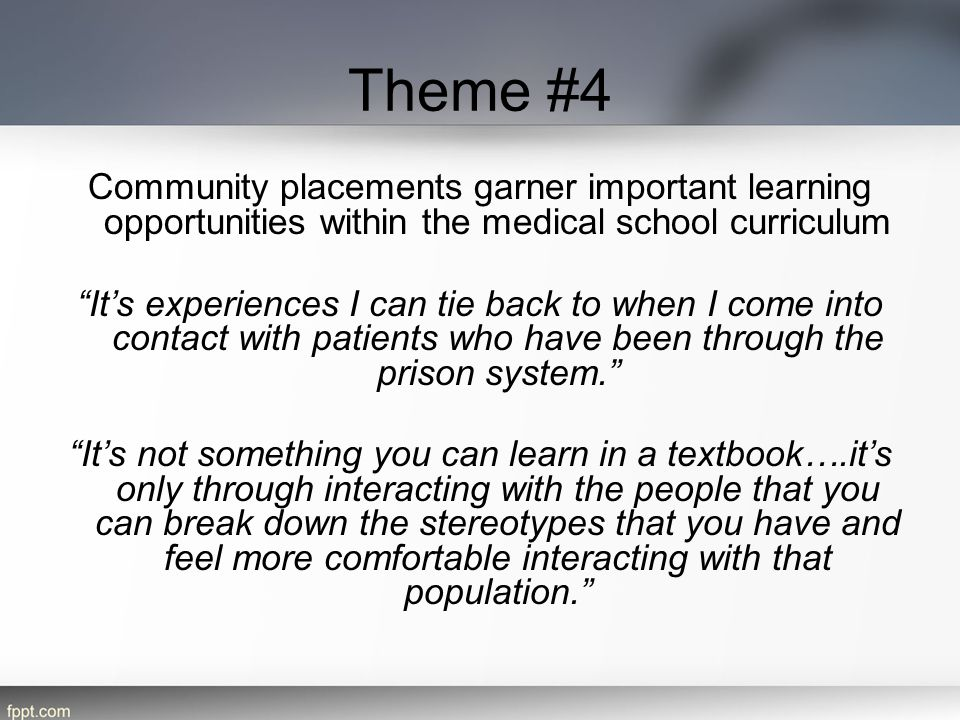 Theme #4 Community placements garner important learning opportunities within the medical school curriculum.