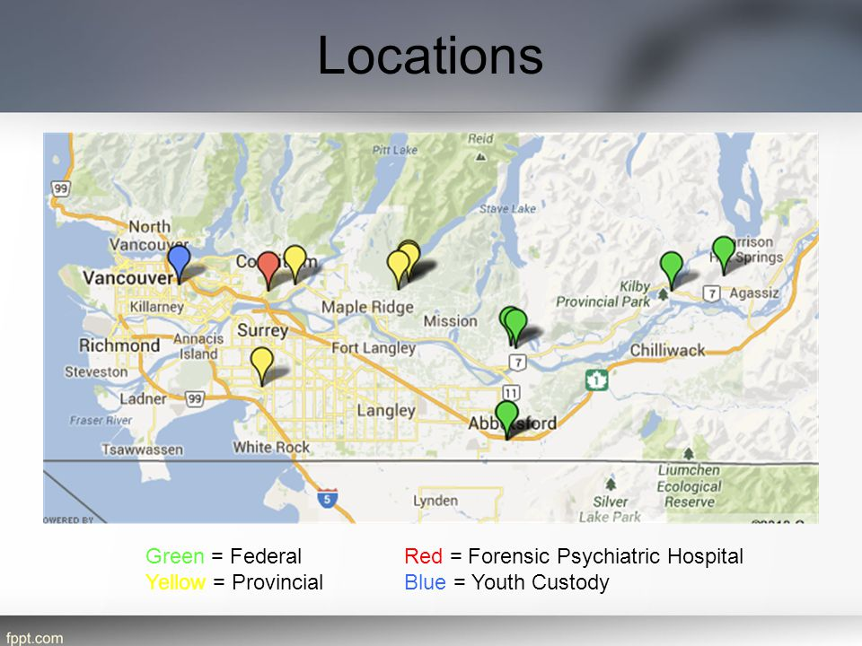 Locations Green = Federal Red = Forensic Psychiatric Hospital