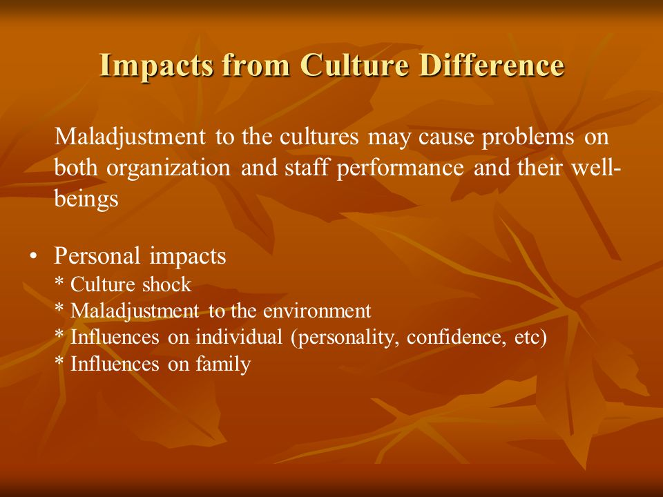 Impacts from Culture Difference