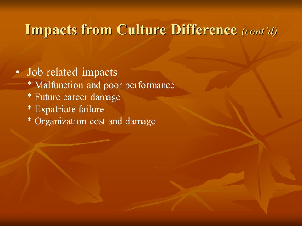 Impacts from Culture Difference (cont'd)