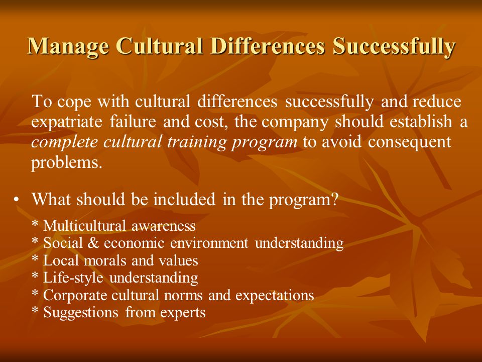 Manage Cultural Differences Successfully