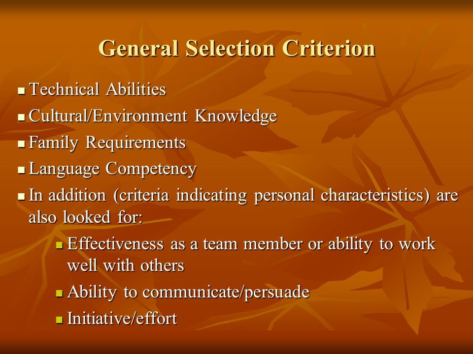 General Selection Criterion