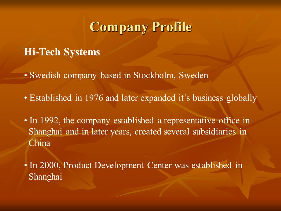 Company Profile Hi-Tech Systems