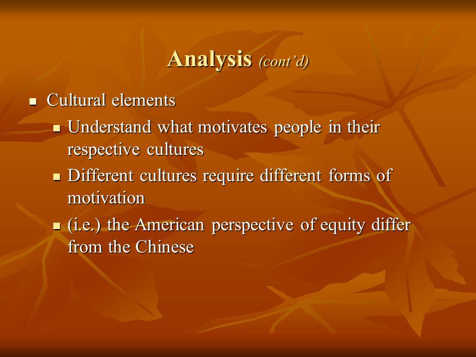 Analysis (cont'd) Cultural elements