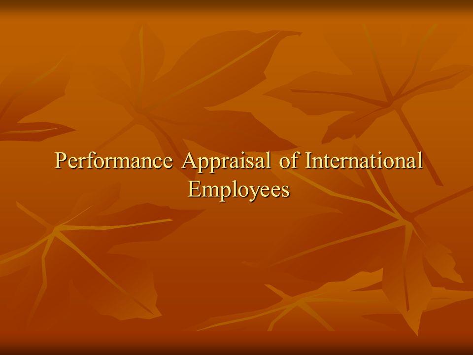Performance Appraisal of International Employees