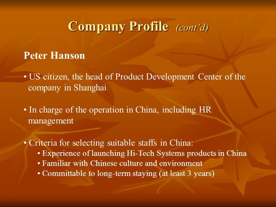 Company Profile (cont'd)