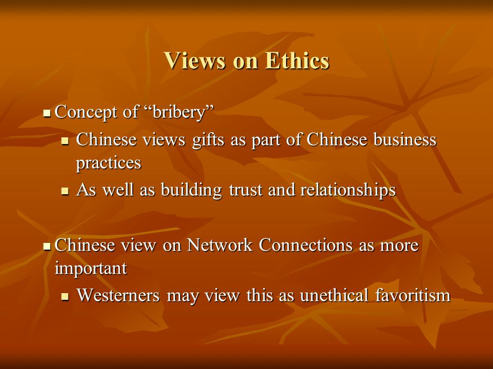 Views on Ethics Concept of bribery