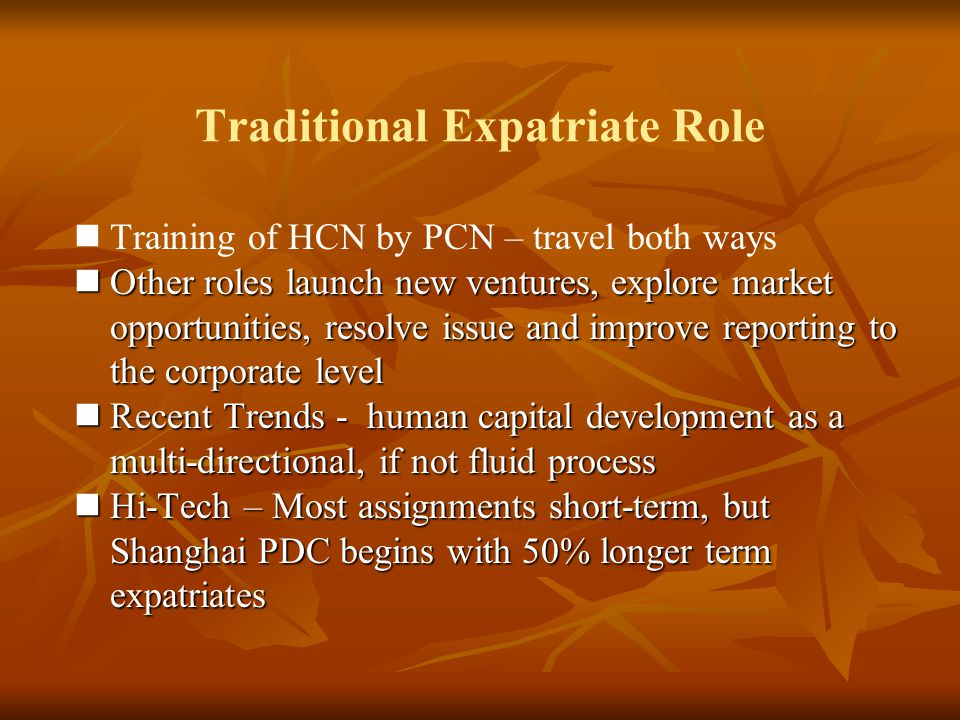 Traditional Expatriate Role