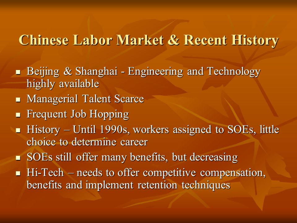 Chinese Labor Market & Recent History