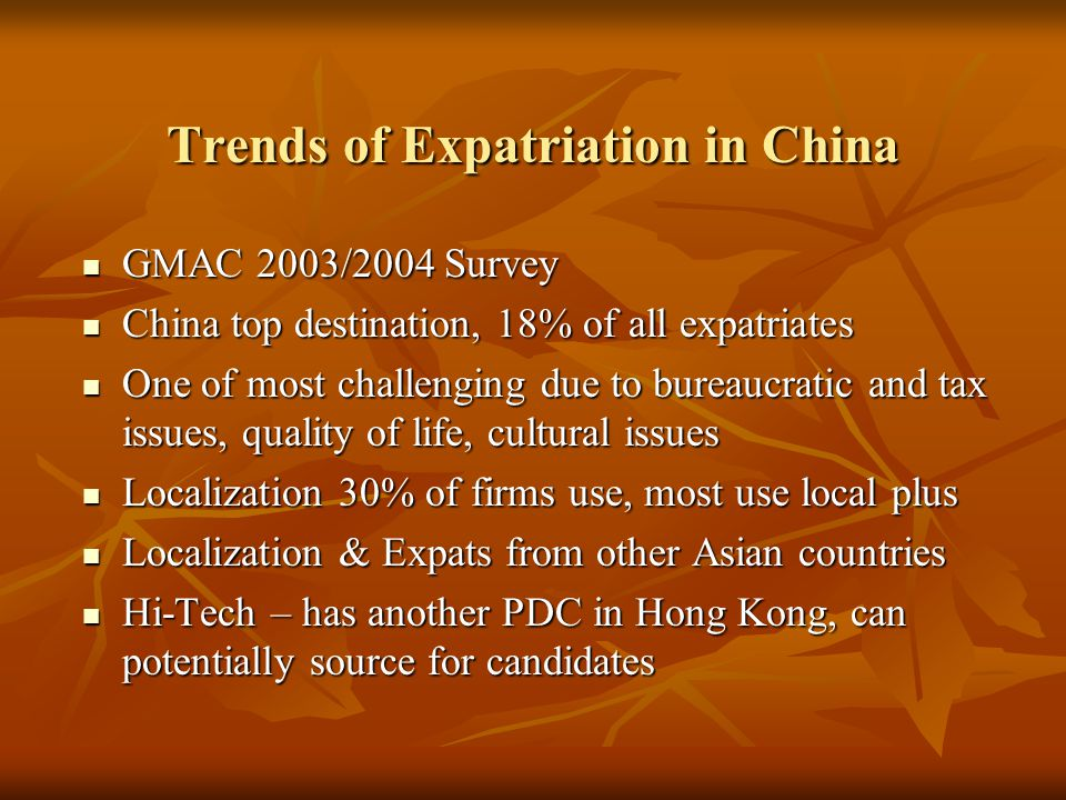 Trends of Expatriation in China