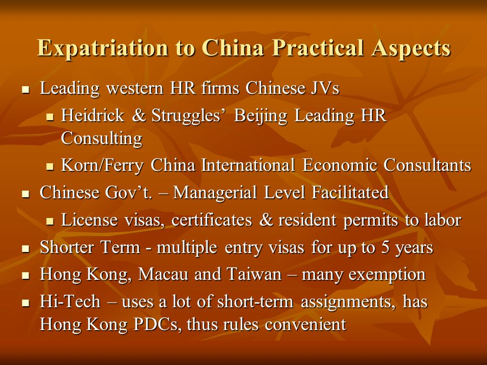Expatriation to China Practical Aspects