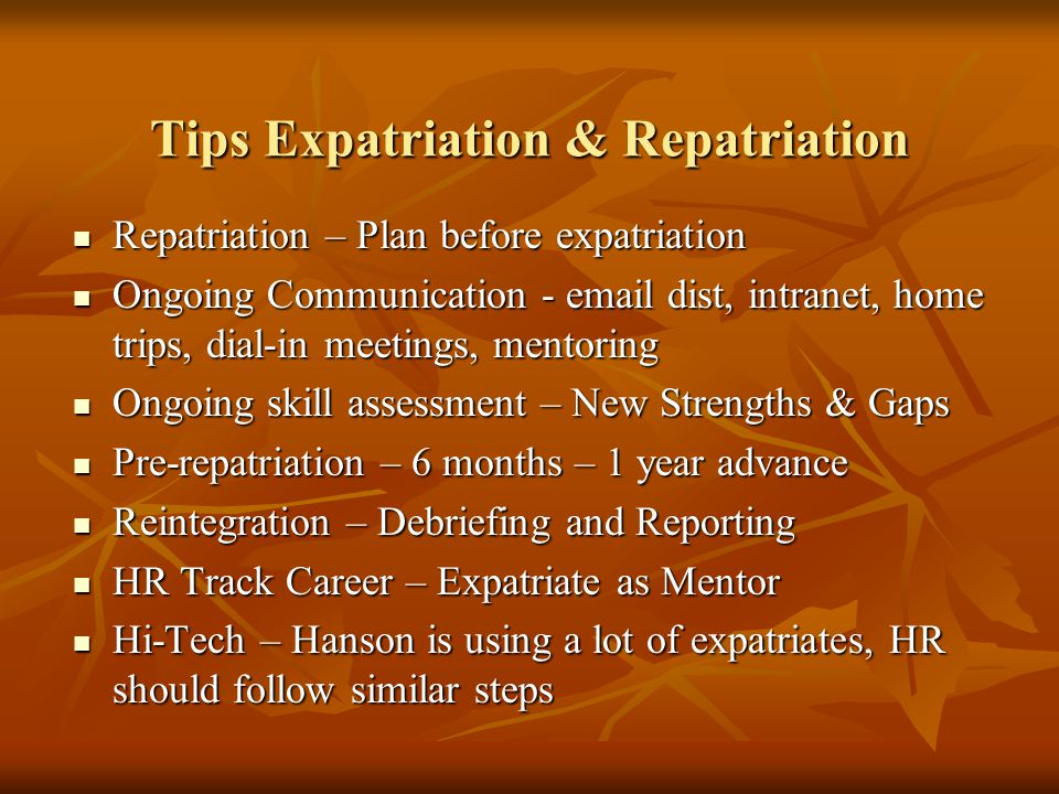 Tips Expatriation & Repatriation