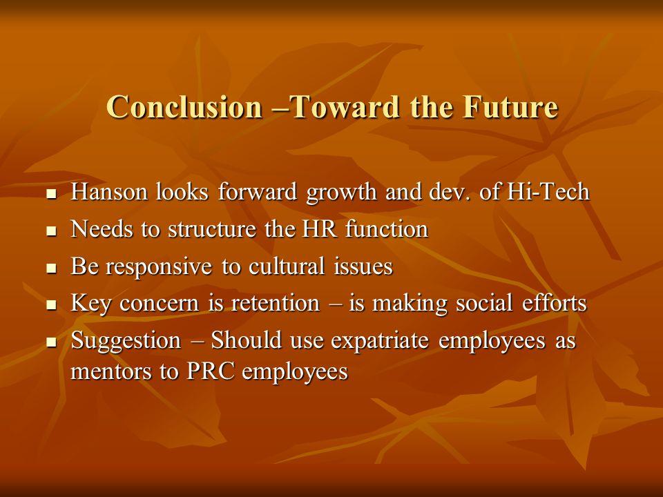 Conclusion –Toward the Future