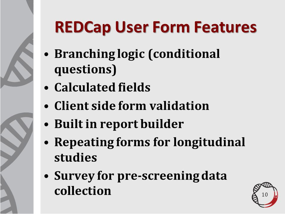 REDCap User Form Features