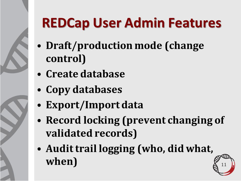 REDCap User Admin Features
