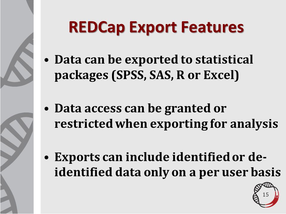 REDCap Export Features
