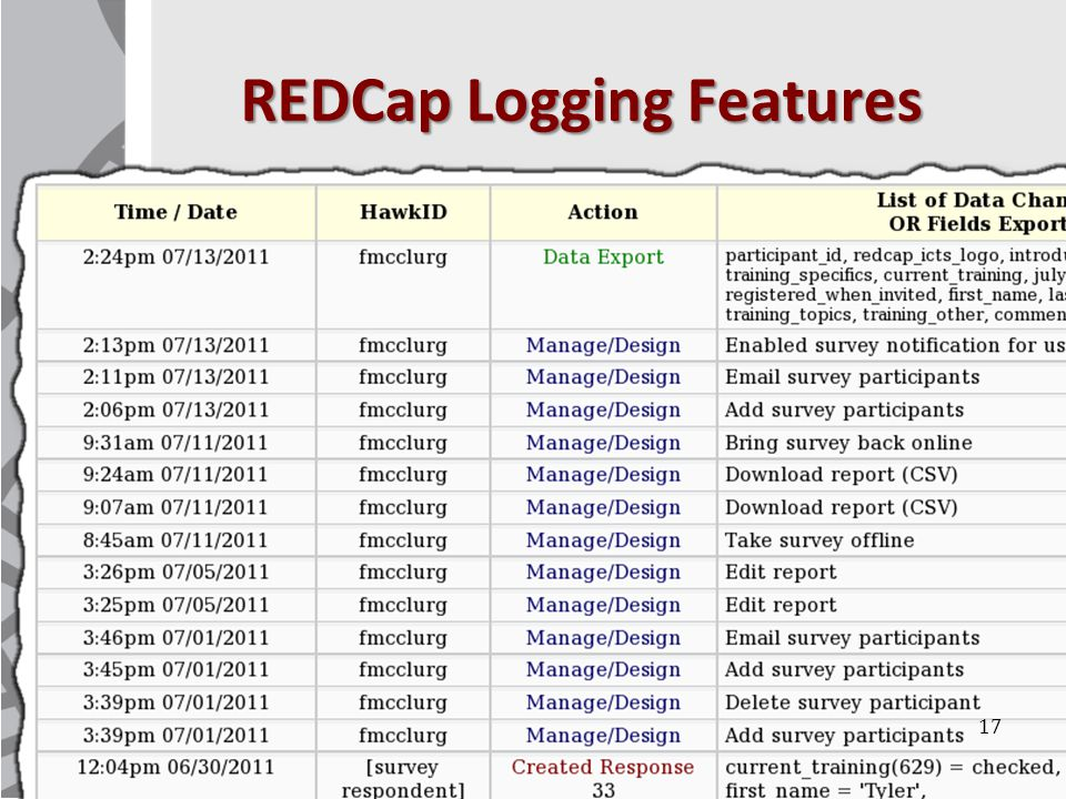 REDCap Logging Features