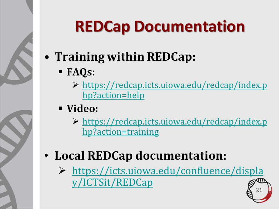 REDCap Documentation Training within REDCap: