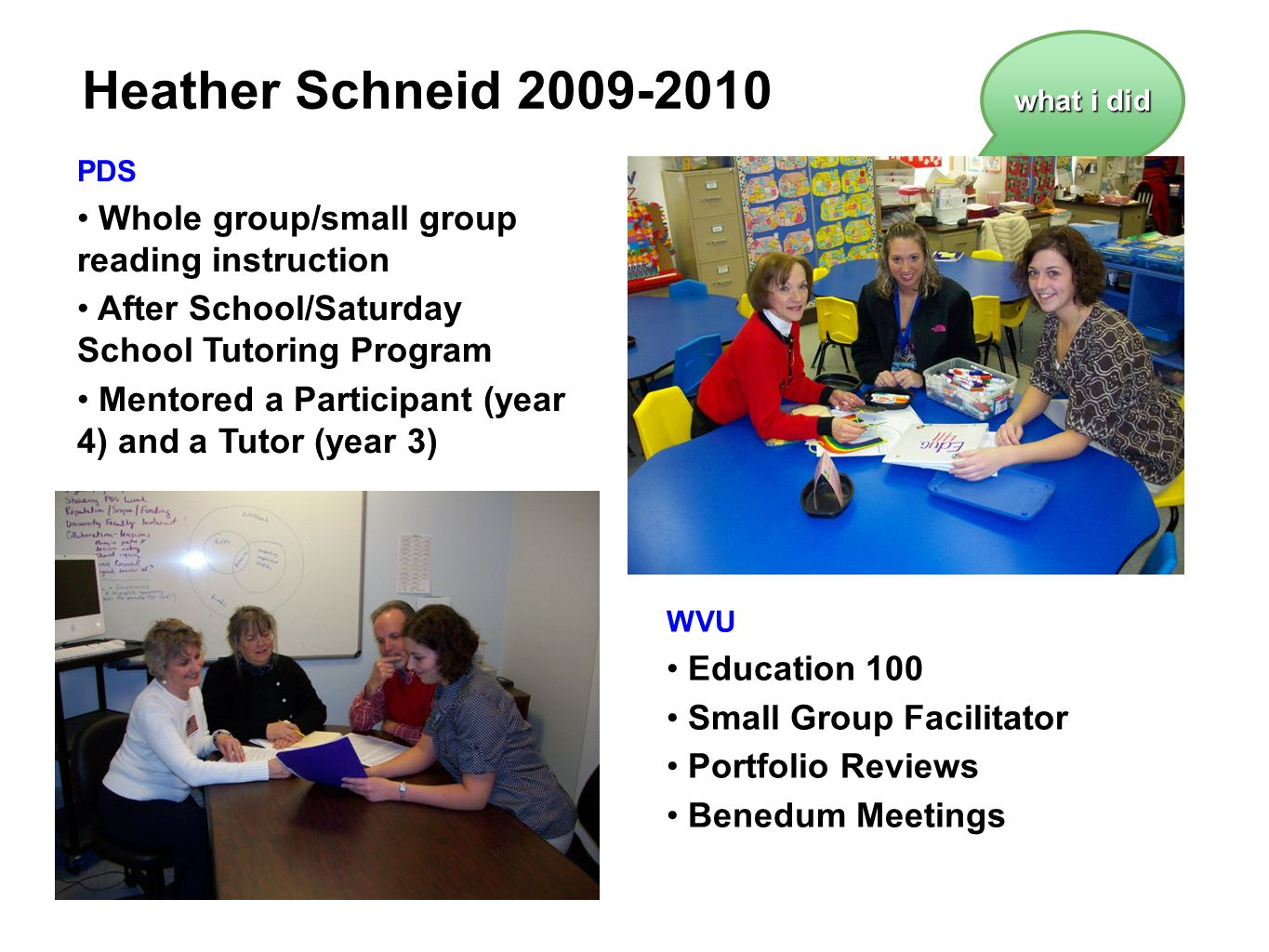 Heather Schneid 2009-2010 Whole group/small group reading instruction
