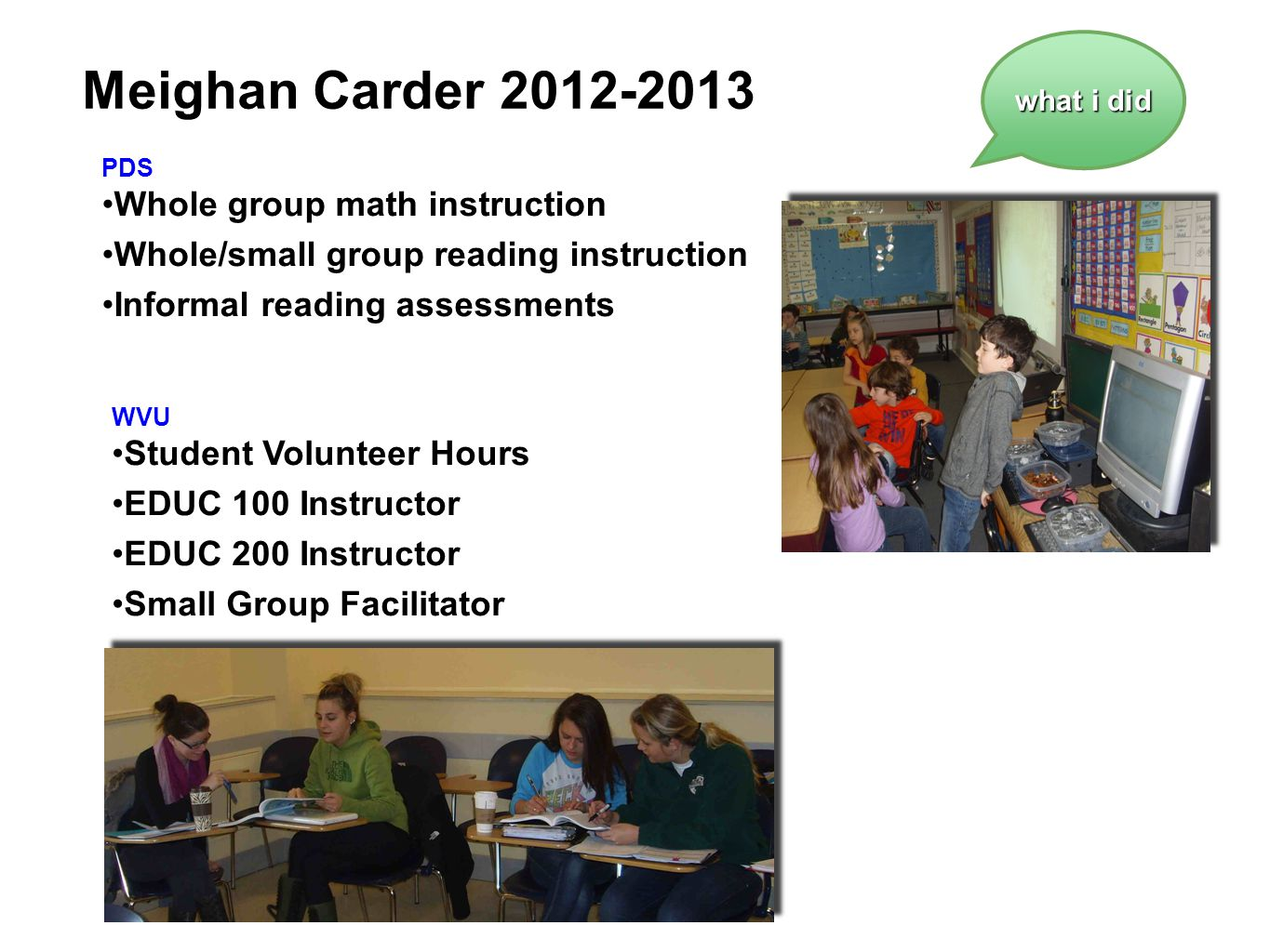 Meighan Carder 2012-2013 Whole group math instruction