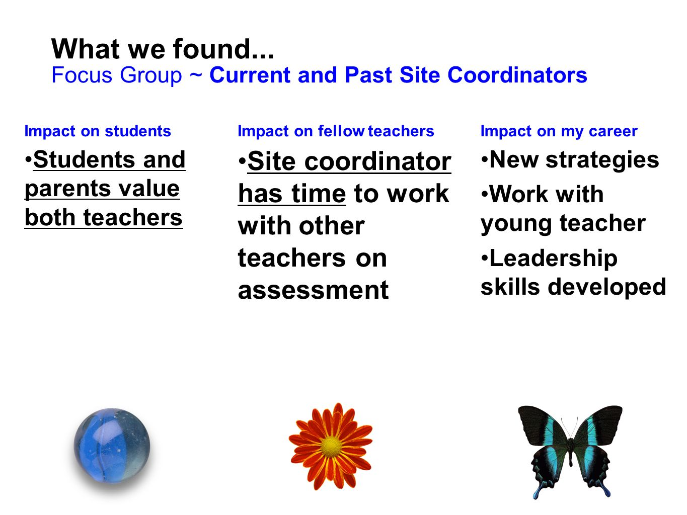 What we found... Focus Group ~ Current and Past Site Coordinators. Impact on students. Students and parents value both teachers.