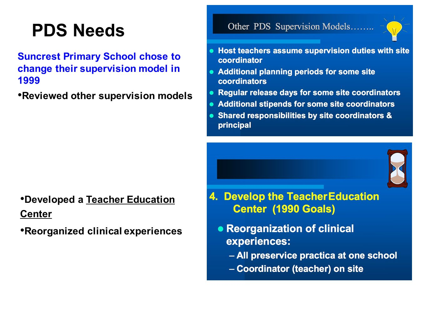 PDS Needs Suncrest Primary School chose to change their supervision model in 1999. Reviewed other supervision models.
