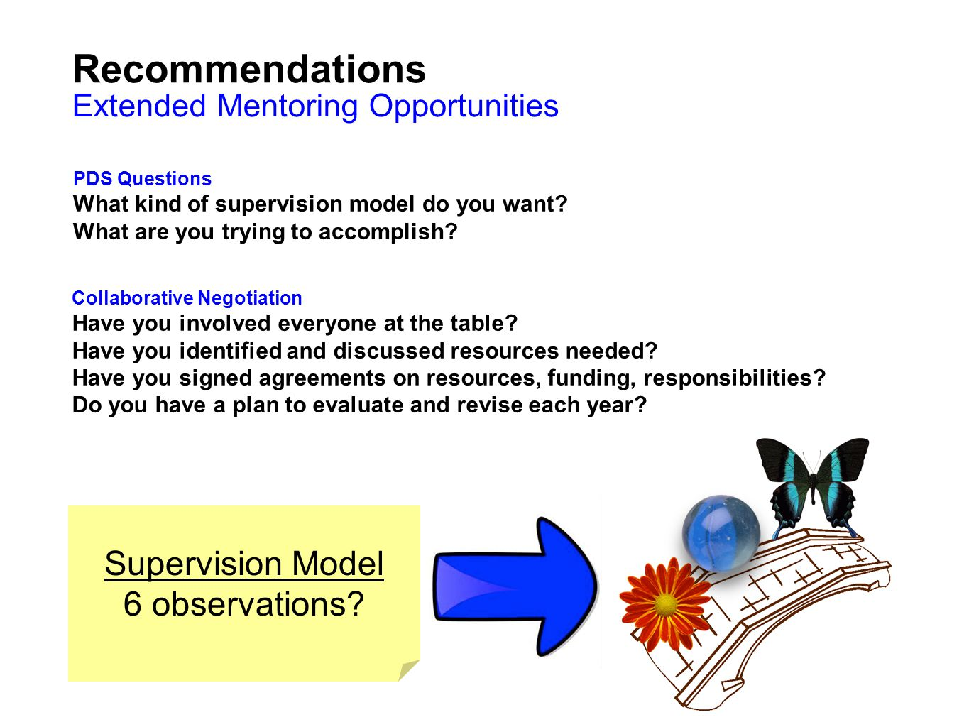 Recommendations Supervision Model 6 observations