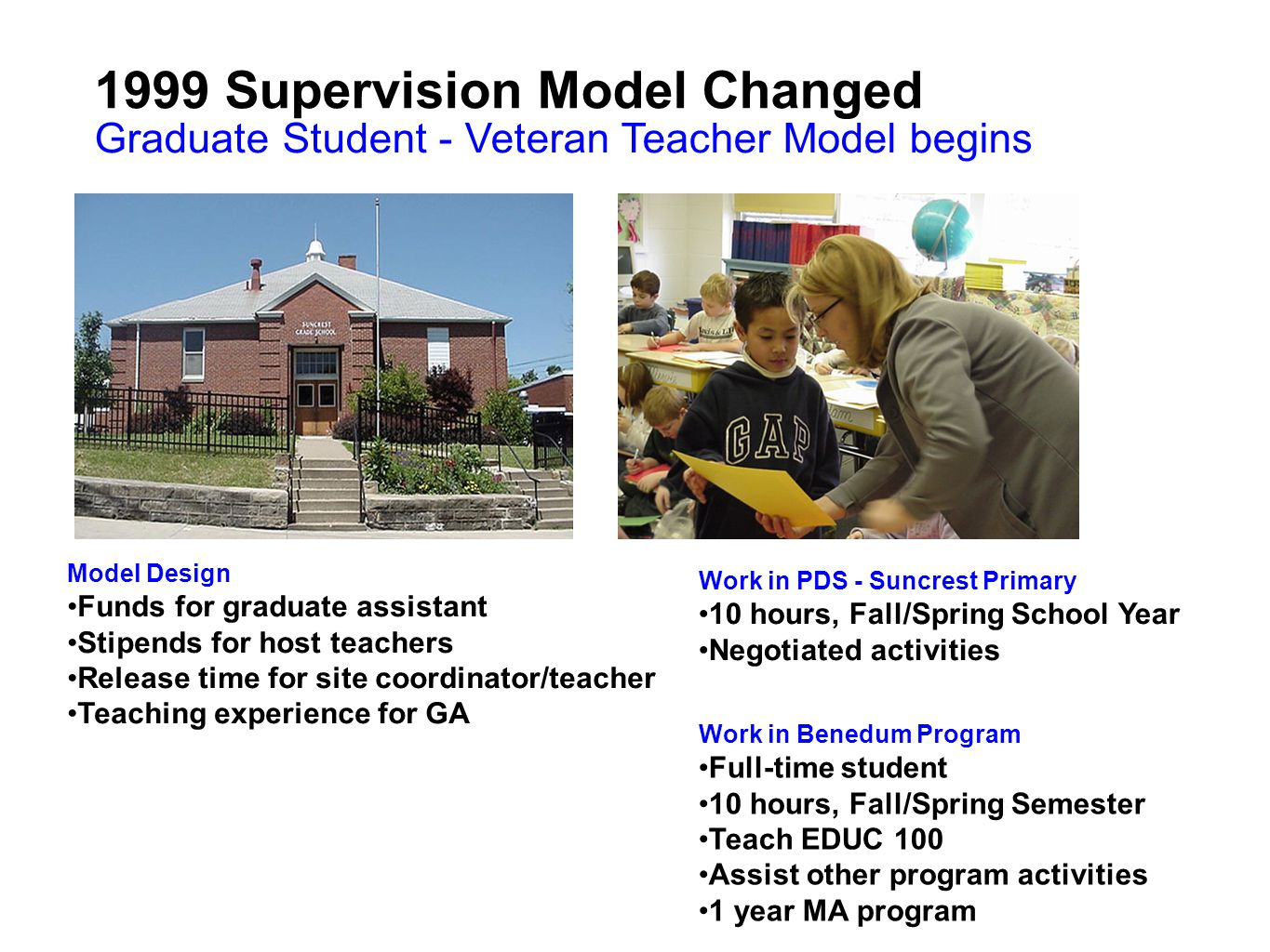 1999 Supervision Model Changed