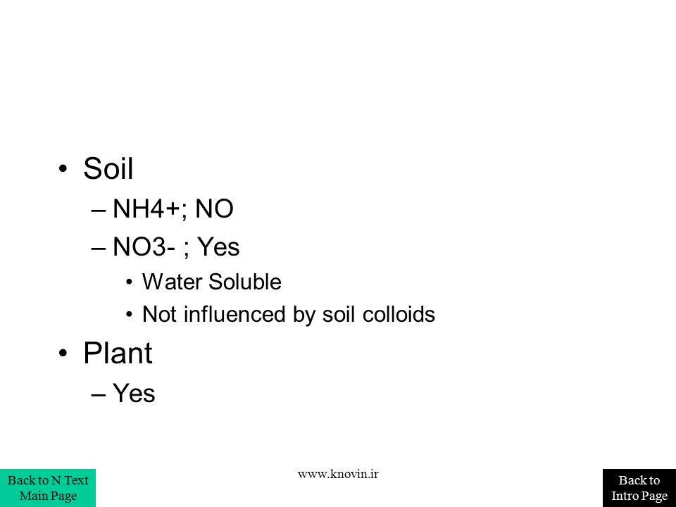 Soil Plant NH4+; NO NO3- ; Yes Yes Water Soluble