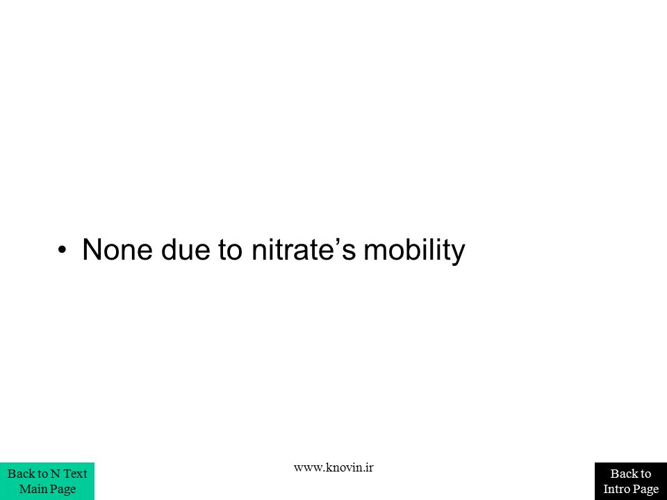 None due to nitrate's mobility