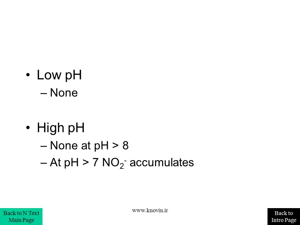 Low pH High pH None None at pH > 8 At pH > 7 NO2- accumulates