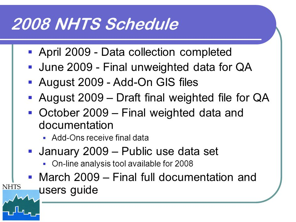 2008 NHTS Schedule April 2009 - Data collection completed