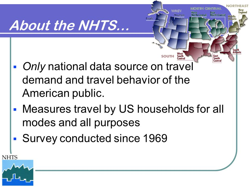 About the NHTS… Only national data source on travel demand and travel behavior of the American public.