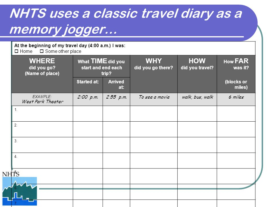 NHTS uses a classic travel diary as a memory jogger…