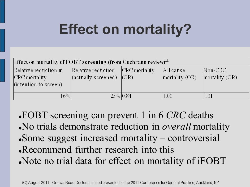 Effect on mortality FOBT screening can prevent 1 in 6 CRC deaths