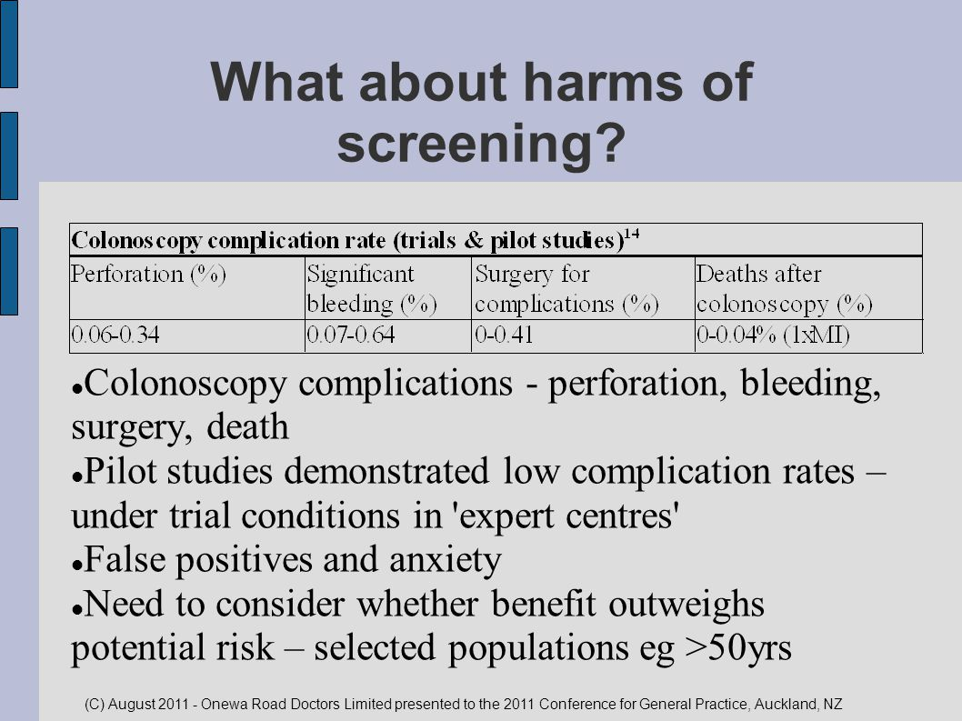 What about harms of screening